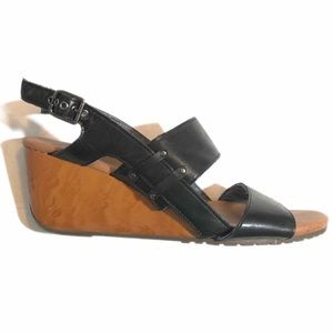 Dr. Scholl's Hali Wedge Black Leather Strappy 10